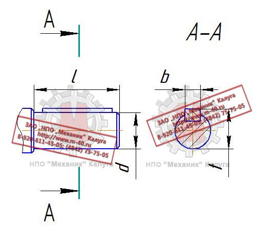Быстроходный вал. t. l. d. b. Тихоходный вал.  Размеры выходных цилиндрических валов редуктора ЦДНД 315.